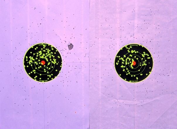 Above: The ten yard patterns produced by the Remington Express load (left) and the 1-ounce handload (right).
