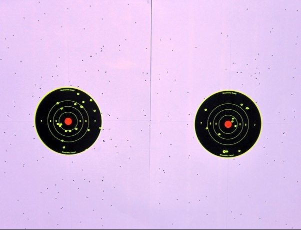 Above: The 25 yard patterns produced by the Remington Express load (left) and the 1-ounce handload (right).