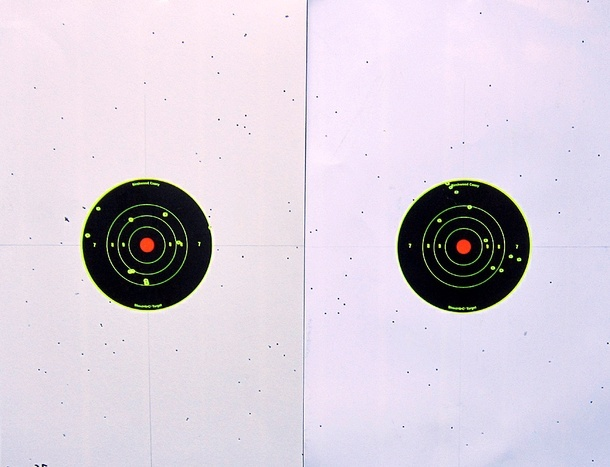 Above: The 35 yard patterns produced by the Remington Express load (left) and the 1-ounce handload (right).