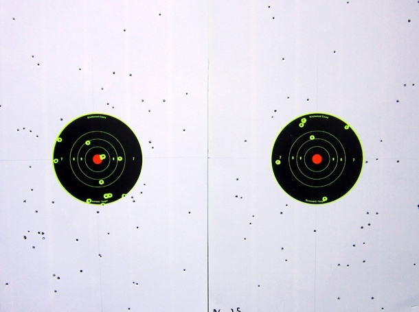 Above the 25 yard pattern (left) and 35 yard pattern (right) yielded by the Federal Flitecontrol load.