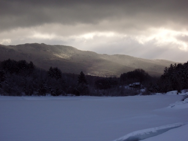 A frozen Vermont lake just after dawn. Vistas like this are sure to boost the mood of even the most winter-weary soul.