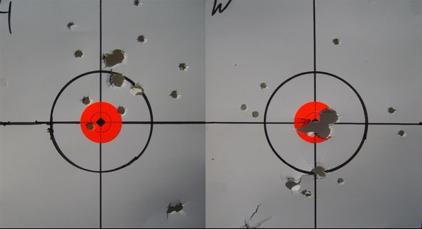 Above: The 15-foot, three round group/pattern yielded by the author's handload (left) and the Winchester PDX1 (right).