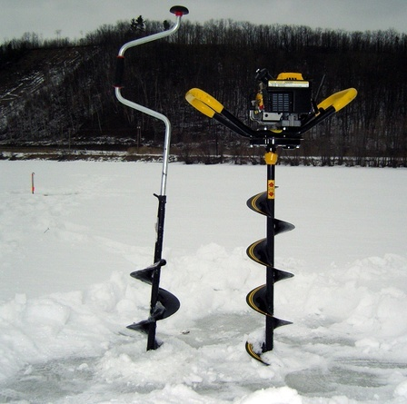 A hand auger (left) and a power auger (right). A power auger will bore through ice quickly while a hand auger will bore a hole in ice cheaply.