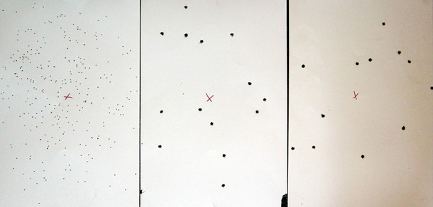 Above: the patterns yielded by the MP 94. From left: 1-1/4 ounce #7.5 shot, modified choke, 15 yards; 15-pellet 00 buck, modified choke, 25 yards; 15-pellet 00 buck, full choke, 25 yards.