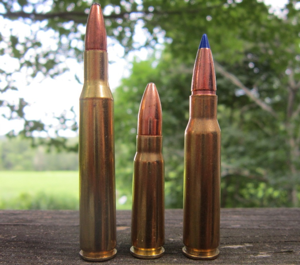 Above: a 7.62x39mm round (center) compared to a .270 Win. round (left) and a .308 Win. round (right).