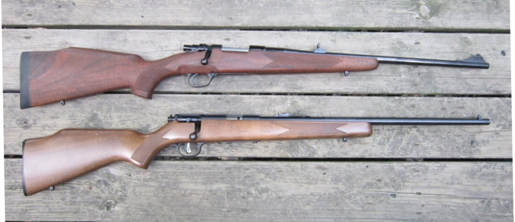 Above: The Zastava M85 (top) is approximately the same size and weight as a Savage Mark II in .22 lr. (bottom).