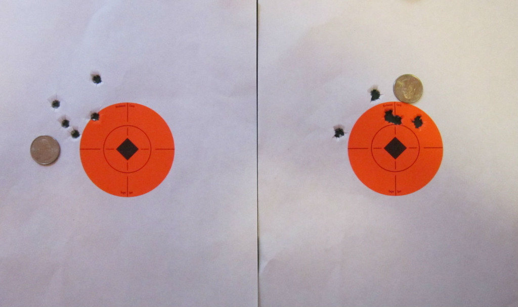 Above: 50yard groups through the Zastava M85.   The group on the left was printed by the Tula 124 grain hollow point ammo; the group on the right was made with American Eagle 124 grain full metal jacket ammo.