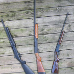 Above: The shotguns available to the author for the 2013 hunting season. From left to right are a 12-gauge Benelli Nova, a 20 gauge Remington 870, and a Braztech .410.